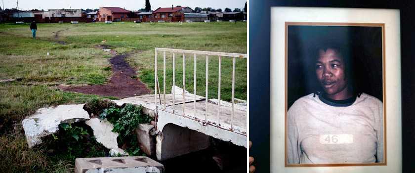 """Dumpades vid dike Eudy Simelane var en kändis i Sydafrika. Som kvinnlig landslagsspelare i fotboll och öppet lesbisk väckte mordet på henne stor uppmärksamhet i ett land som vanligtvis ser genom fingrarna när det gäller våldtäkt. """"Ett hatbrott"""", sade domaren när Eudys två mördare dömdes."""