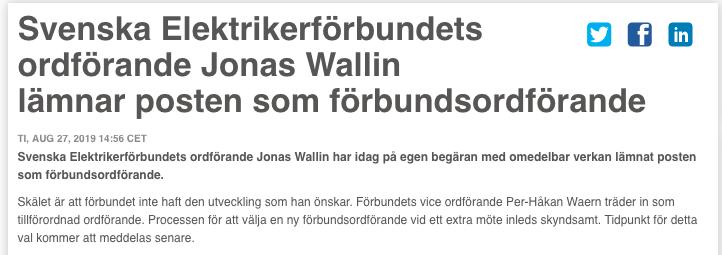 Förbundets pressmeddelande om att Wallin lämnar.