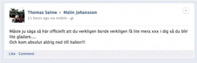 Kommentaren på Malin Johanssons Facebook hade samma innehåll som den i bloggen.