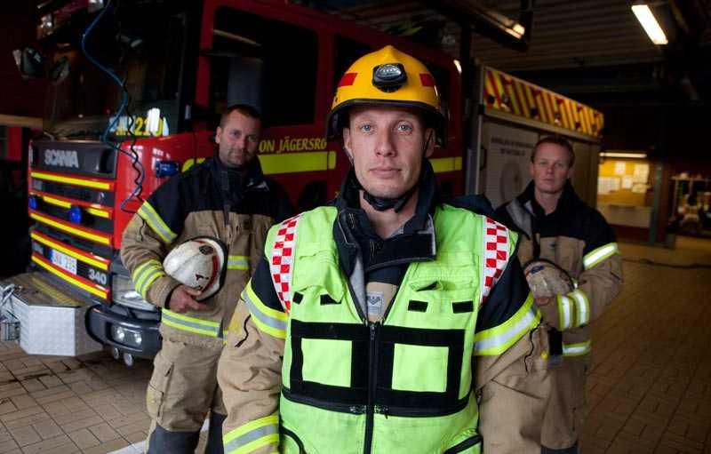 Brandmän på Jägersro-stationen.