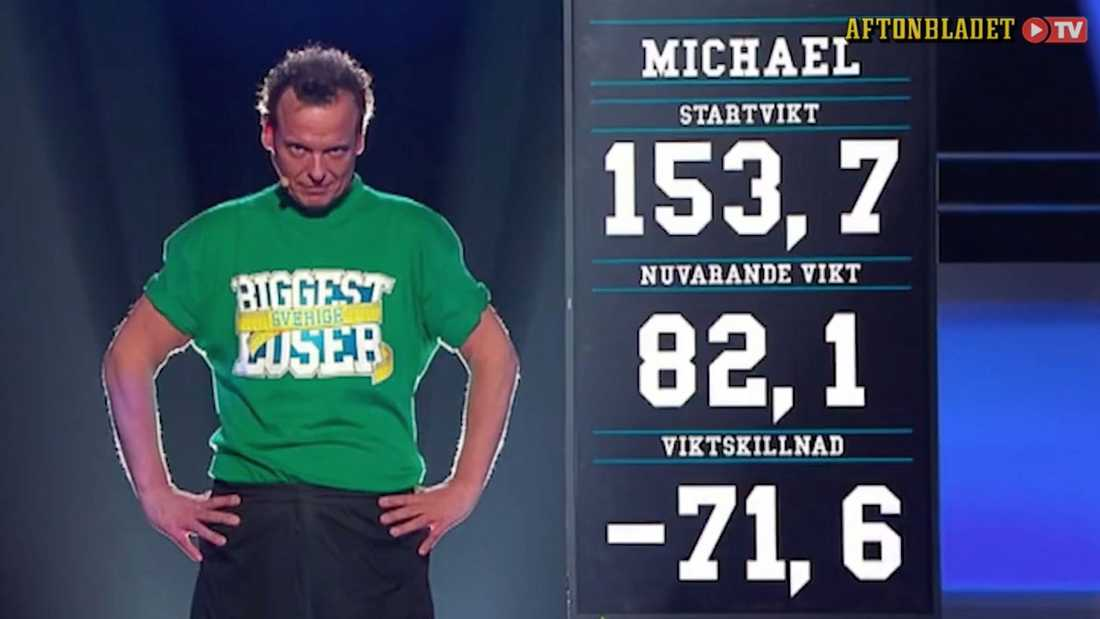 """Efter sitt tidigare deltagande i """"Biggest loser"""" checkade Mikael ut på 82,1 kilo."""