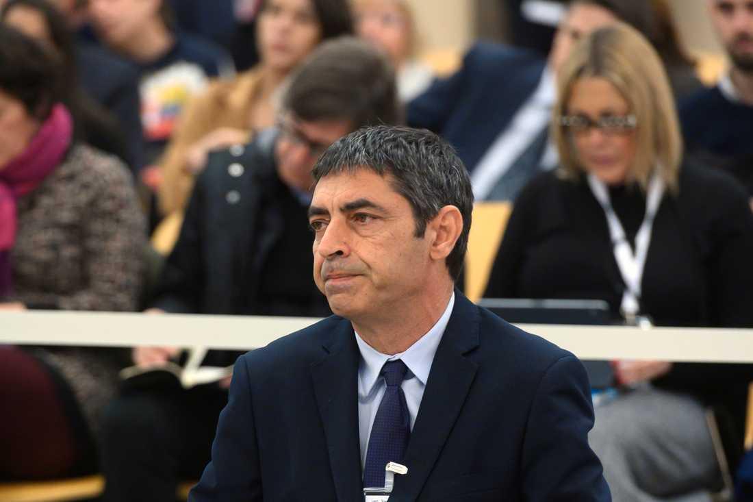 Förre katalanske polischefen Josep Lluís Trapero under första rättegångsdagen.