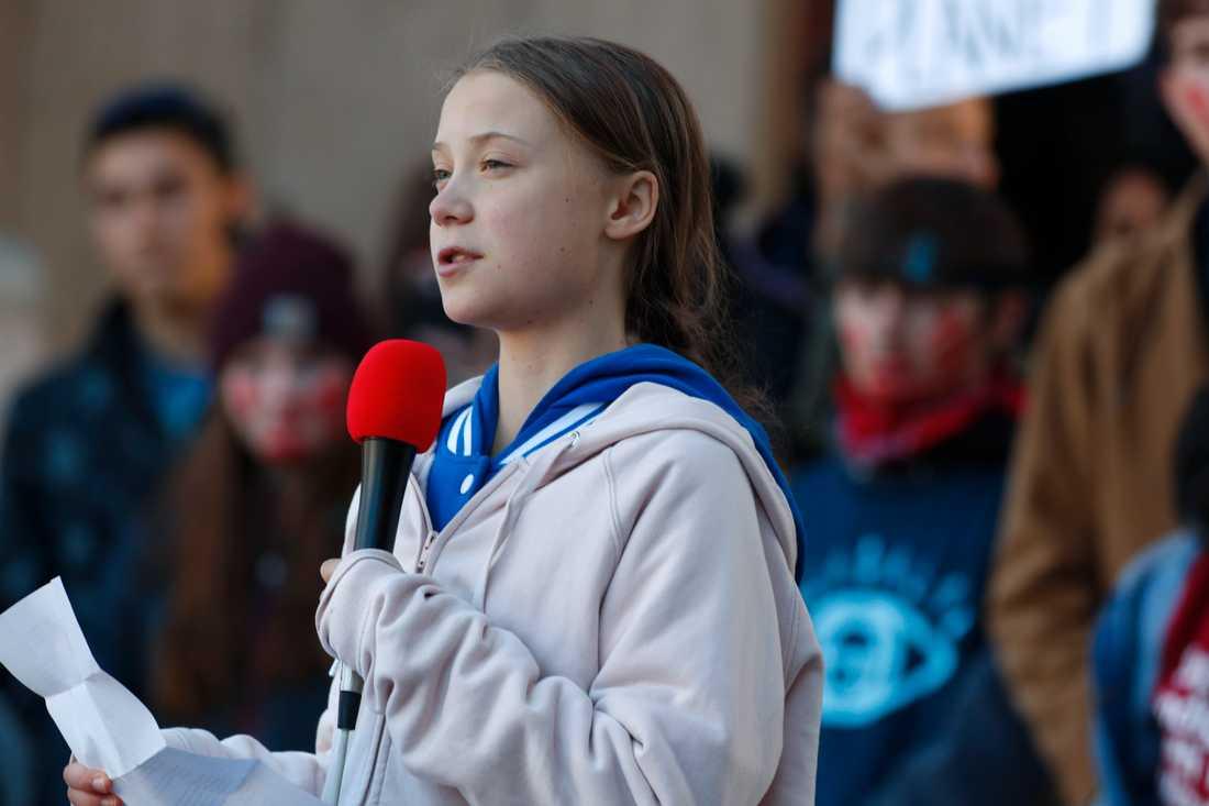 Greta Thunberg talar vid en manifestation i Denver, USA, i oktober.