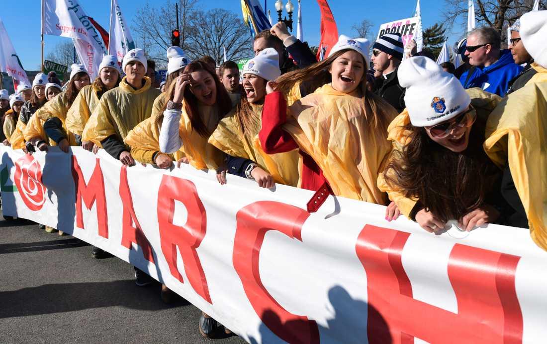 Den demonstration mot abort som hölls i USA:s huvudstad Washington DC i fredags.