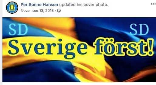 På Facebook delar Per Sonne Hansen ofta med sig av invandringskritiskt material.