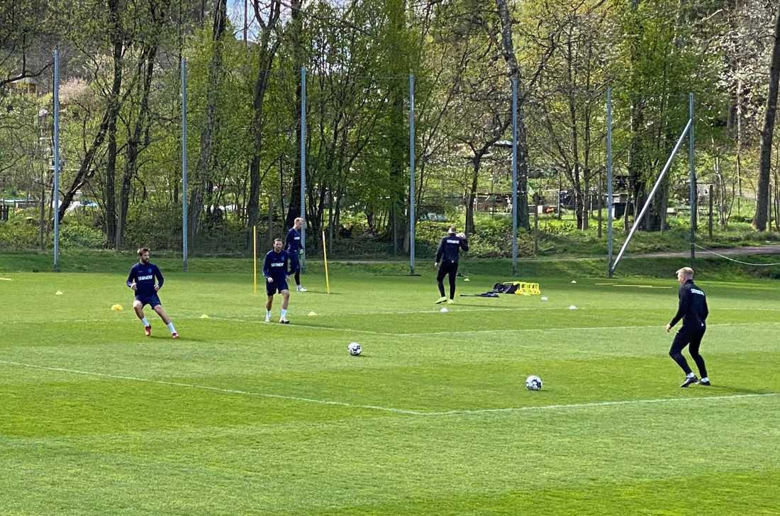 Mattias Bjärsmyr, Marcus Berg och Pontus Dahlberg på IFK Göteborgs träning