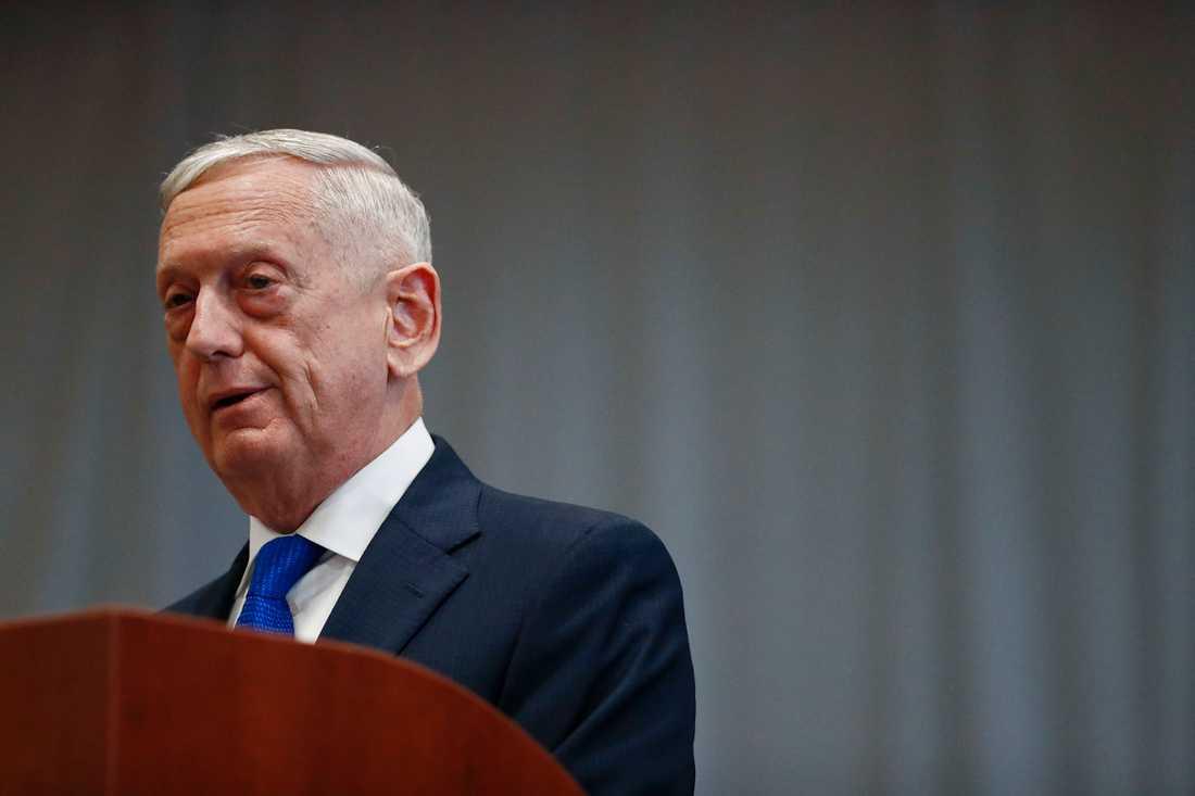 USA:s försvarsminister Jim Mattis avgår den sista februari. Arkivbild.