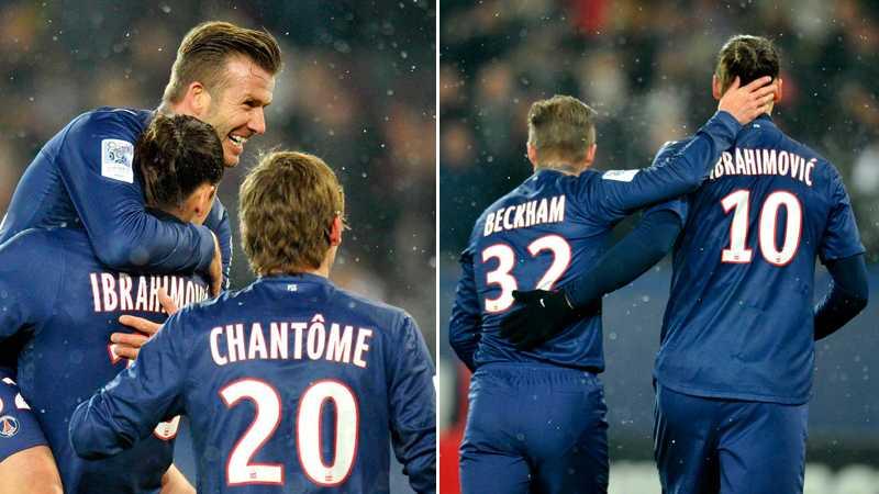 Under transferfönstret i januari 2013 anslöt David Beckham till miljardbygget PSG. Här kramar han Zlatan efter sitt första framträdande för klubben.