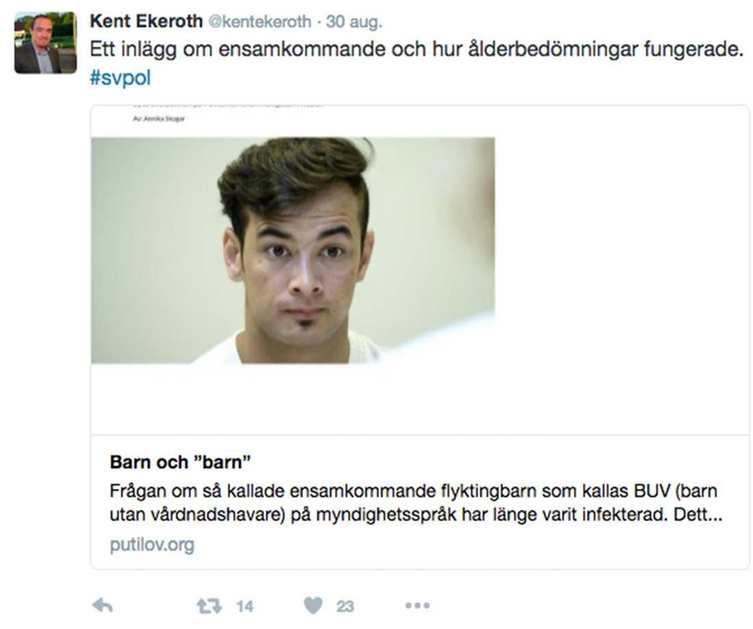 """Kent Ekeroth har så sent som i tisdags länkat till """"Egor Putilovs"""" blogg."""