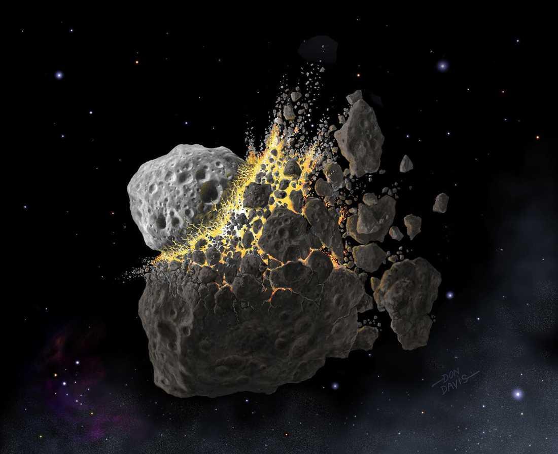 För 466 miljoner år sedan, under den geologiska perioden ordovicium, kolliderade en 150 kilometer stor asteroid mellan planeterna Mars och Jupiter. Enorma mängder damm slungades ut i de inre delarna av solsystemet.