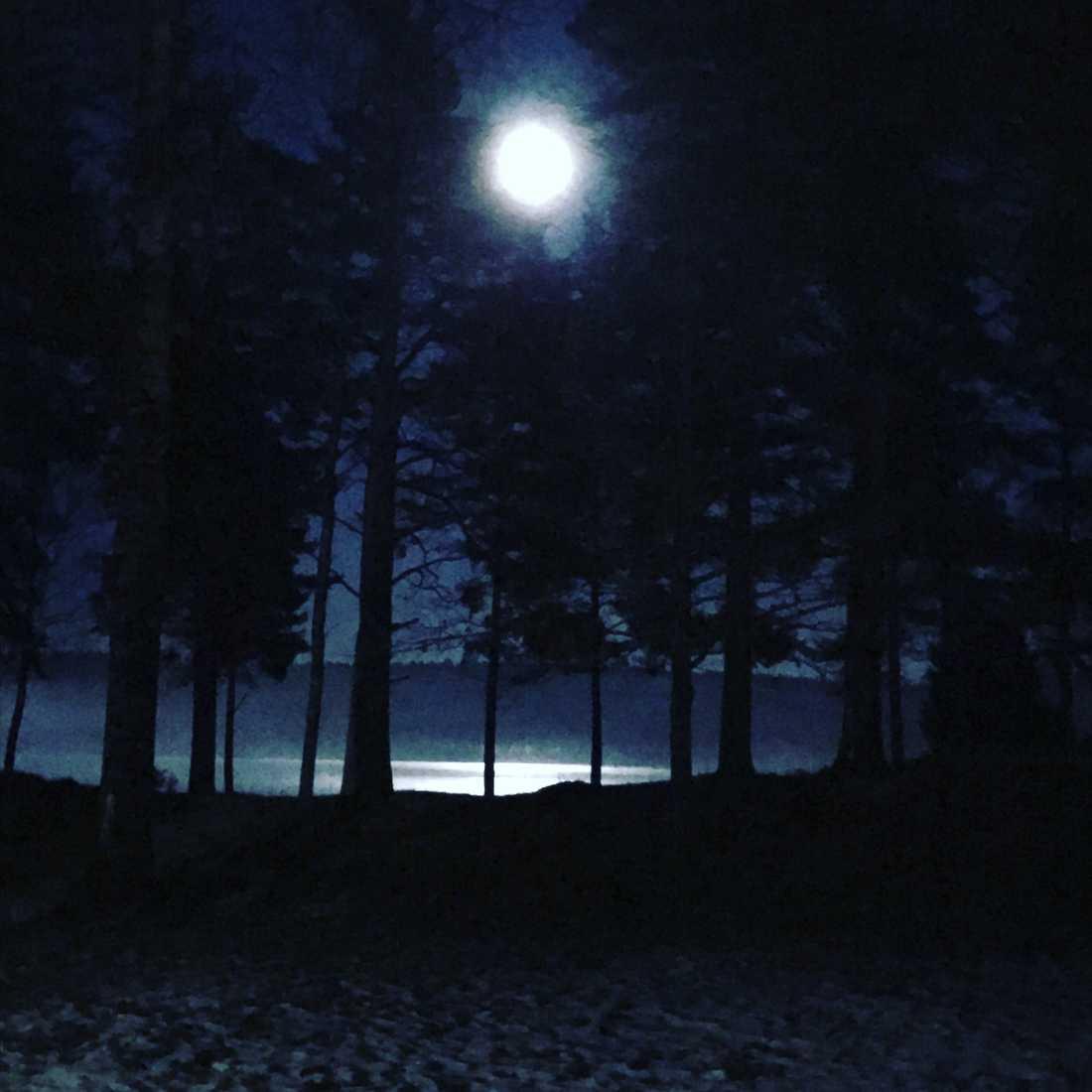 Månen över Borgvikssjön i Värmland.