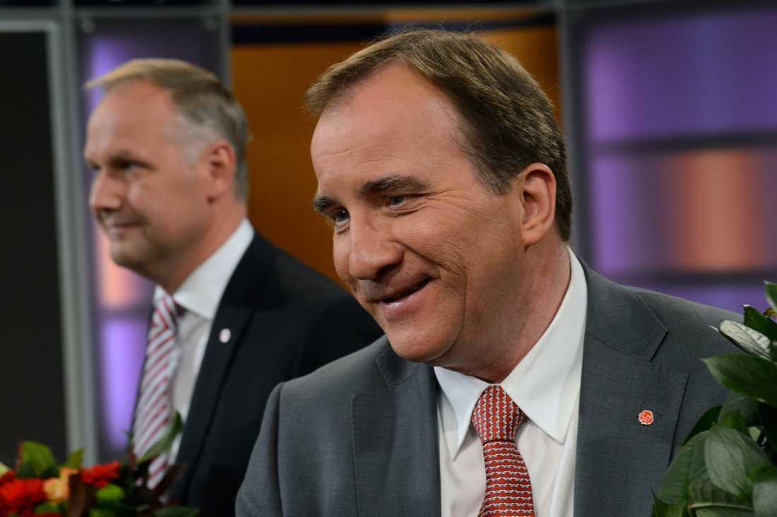 Stefan Löfven och Jonas Sjöstedt (V).