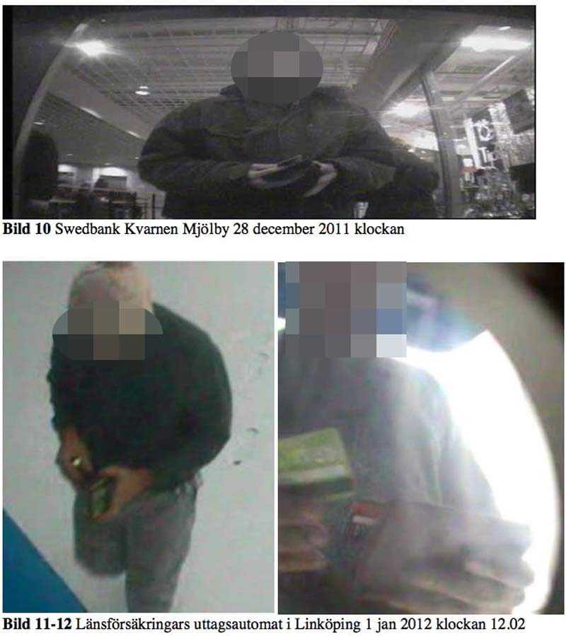 En av de misstänkta männen när han tar ut pengar ur olika uttagsautomater.