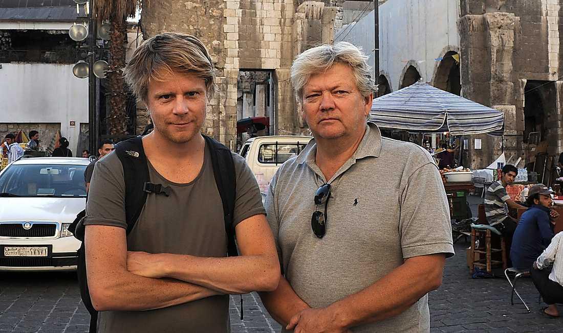 Aftonbladets Staffan Lindberg och fotografen Urban Anderson på plats i Damaskus.