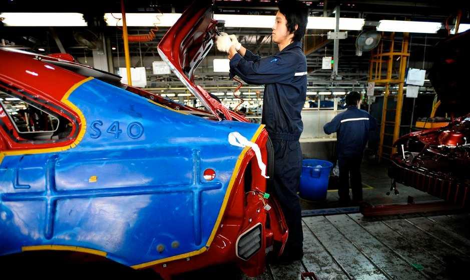 Volvos fabrik i Chongqing där de tillverkar modellen S40. Bilden är från 2008.