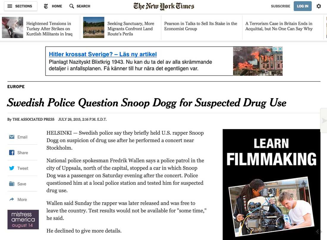 New York Times Swedish Police Question Snoop Dogg for Suspected Drug Use