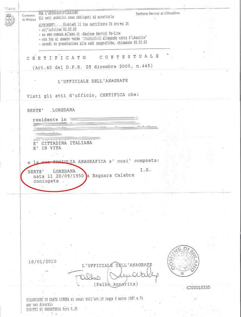 Loredana Bertés personbevis där det står att hon är gift (coniugata).
