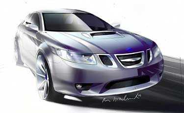 Teckning på hur nya Saab 9-2 ska se ut.