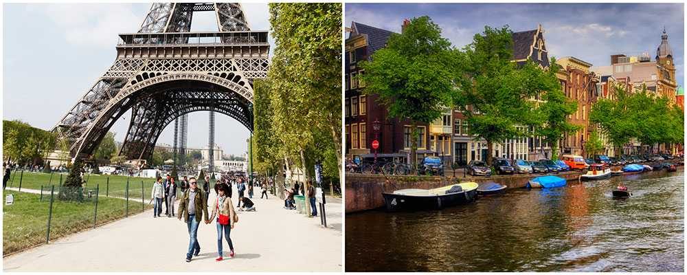 Paris och Amsterdam är vårens populäraste storstäder.