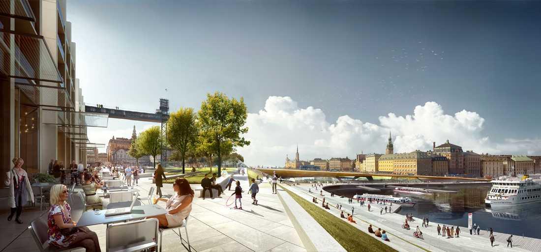 Rendering av framtidens Katarina parken, på Södermalmssidan av Slussen.