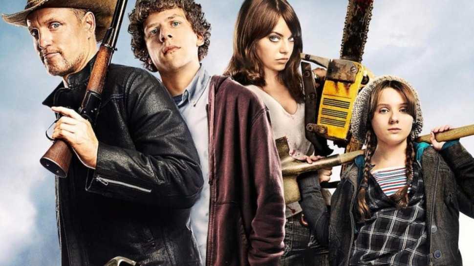 """Woody Harrelson, Jesse Eisenberg, Emma Stone och Abigail Breslin i """"Zombieland: Double tap""""."""