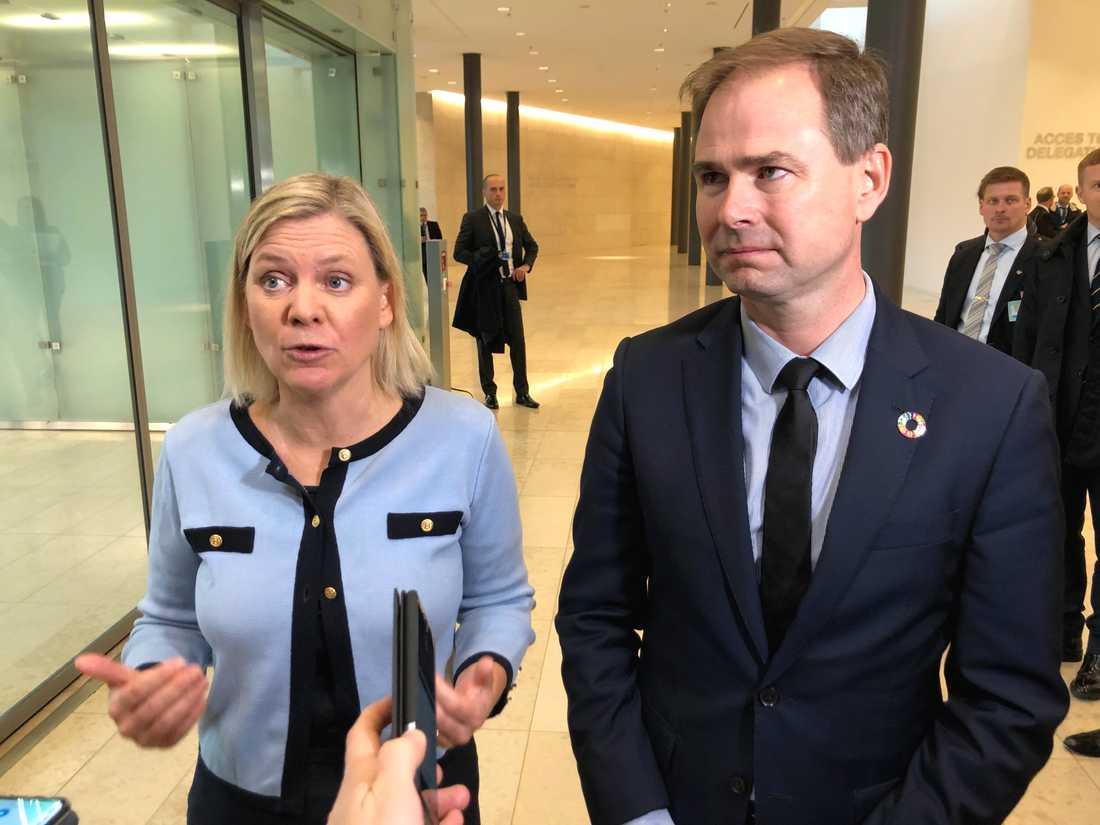 Både Sveriges finansminister Magdalena Andersson och hennes danske kollega Nicolai Wammen är skeptiska till Frankrikes och Tysklands nya plan på återhämtningsstöd efter coronakrisen. Arkivfoto.