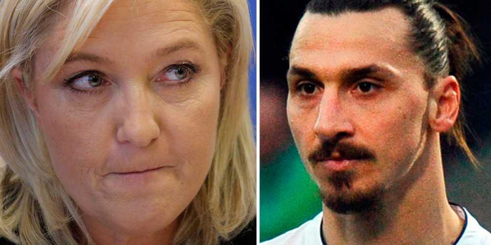 Nationella Frontens partiledare Marine le Pen och fotbollsspelaren Zlatan Ibrahimovic.