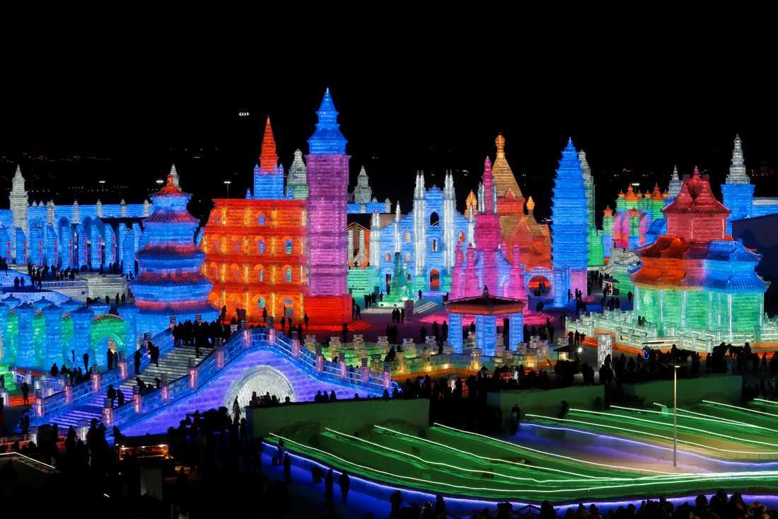 Harbins internationella snö- och isfestival i norra Kina.