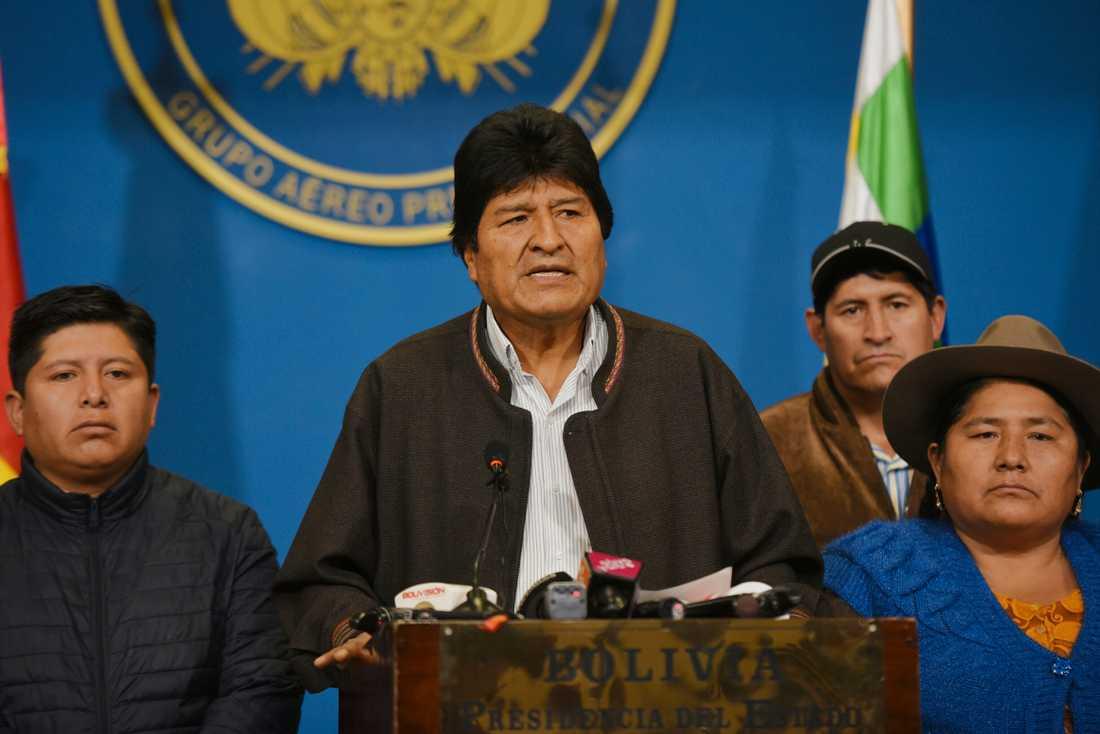 Evo Morales på söndagen.