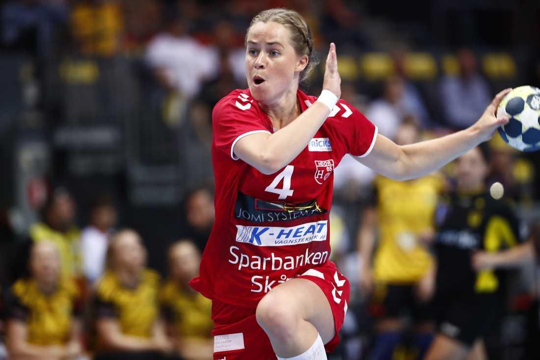 H65 Höörs Evelina Källhage gjorde sju mål i segermatchen mot Sävehof. Arkivbild.