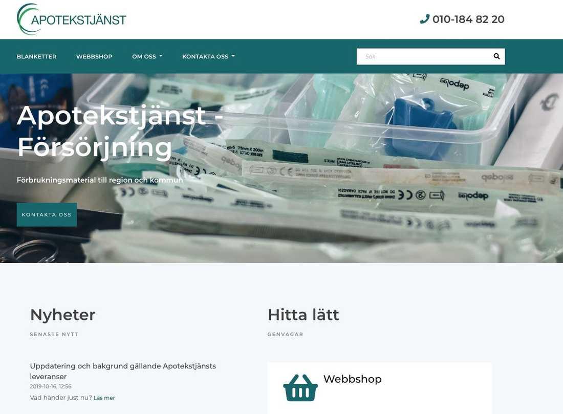 Skärmdump från företagets hemsida