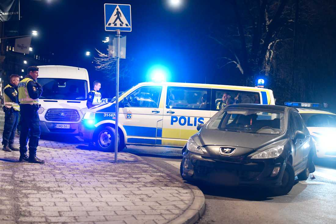 Car chase in central Stockholm.