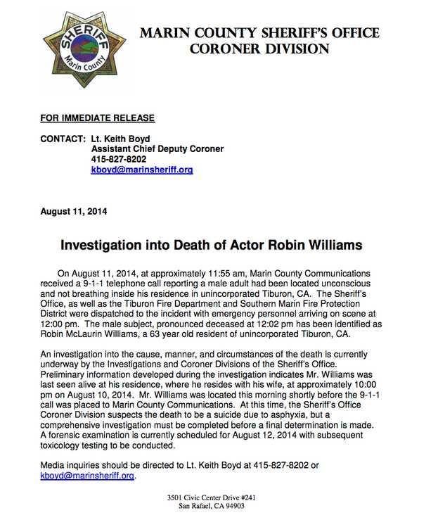 Polisens utskick om dödsfallet.