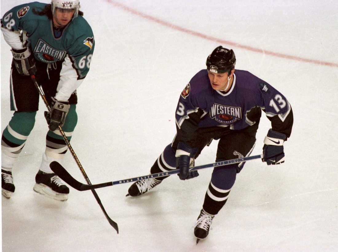 Jaromir Jagr och Mats Sundin i NHL:s All Star-match 1996.