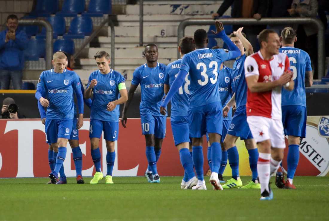 Genk firar under Europa League-mötet med Slavia Prag tidigare i år.