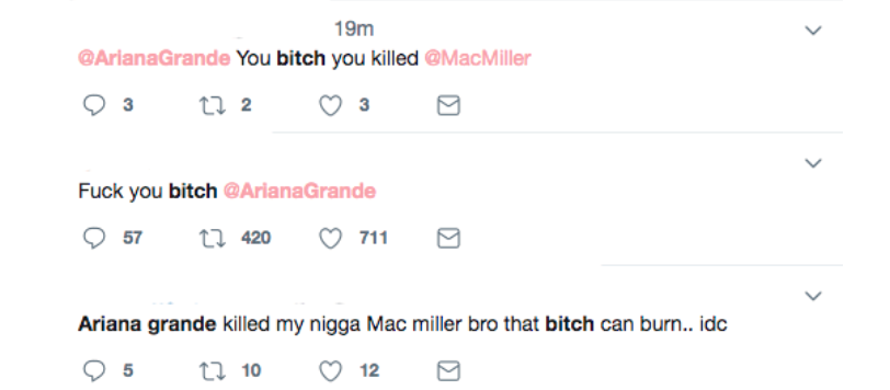 Artisten Ariana Grande trakasseras på Twitter.