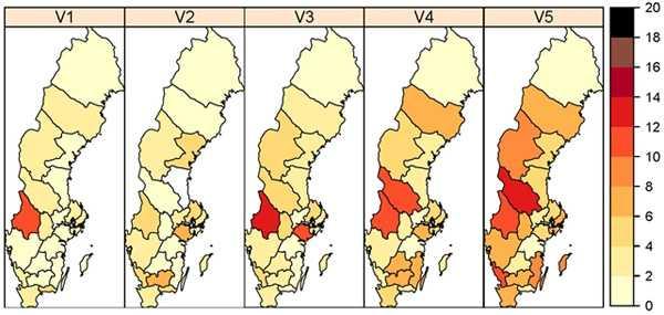 Färgskalan symboliserar antalet laboratorieverifierade influensafall per 100 000 invånare och baserar sig på den frivilliga laboratorierapporteringen samt anmälningar av fall av influensa A(H1N1)pdm09 (anmälningsplikt). Län markerade med grått har den aktuella veckan inte haft något rapporterande laboratorium. I län markerade med vitt har minst ett laboratorium rapporterat, men inga influensafall har diagnosticerats.