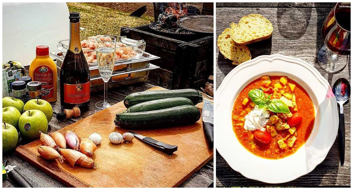 Lotta Öströms tomat- och kycklingsoppa går lika bra att tillaga ute över öppen eld.