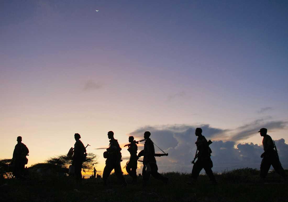 Somaliska regeringsstyrkor kämpar mot islamistiska terrorgruppen al-Shabaab sedan 1991. Arkvbild.