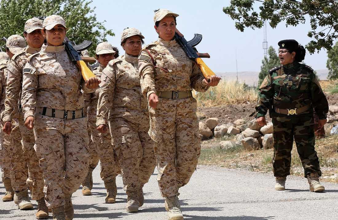 Peshmerga-krigare tränar.