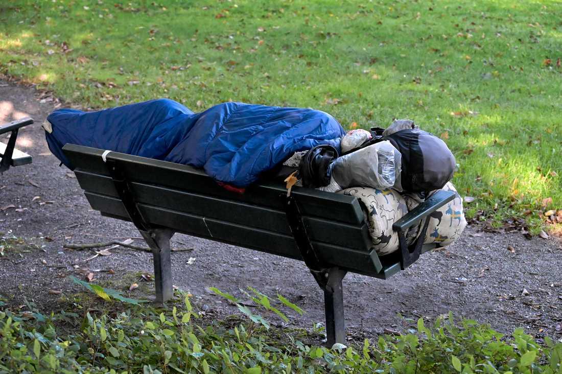 En hemlös person i Stockholm.