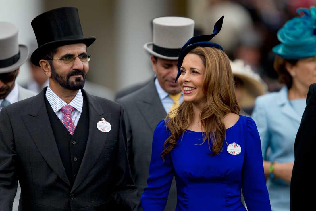 Emiren Mohammed bin Rashid Al Maktum tillsammans med sin exfru, prinsessan Haya av Jordanien, vid hästtävlingen Royal Ascot i Storbritannien.