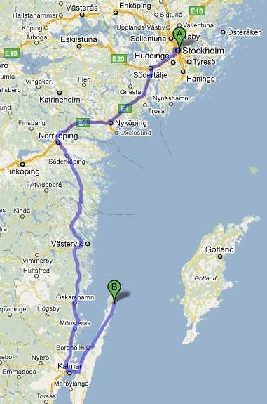Familjen Wallentin tog inte den kortaste vägen som kartan visar utan undvek flaskhalsen Söderköping genom att köra över Linköping och Vimmerby istället. Klicka för större bild.