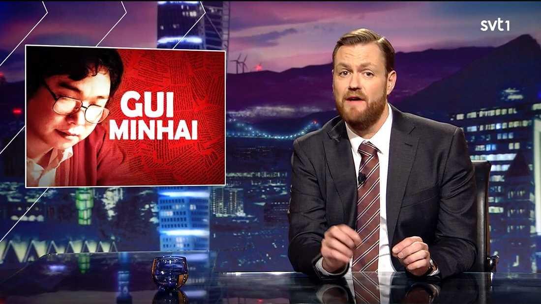 "Kristoffer Appelquist ställde krav på Kina i fredagens avsnitt av ""Svenska nyheter""."