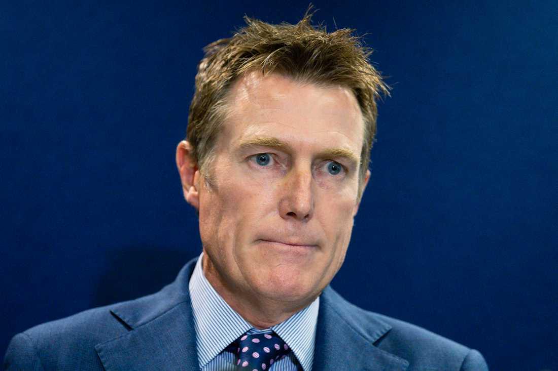 Australiens justitieminster Christian Porter under sin presskonferens i Perth.
