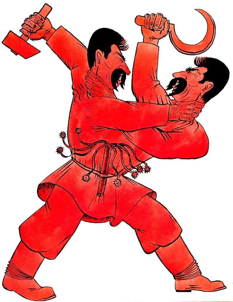 Stalin förde även krig mot sig själv, genom brutala utrensingar bland Röda arméns officerare. Tysk karikatyr från 1937.