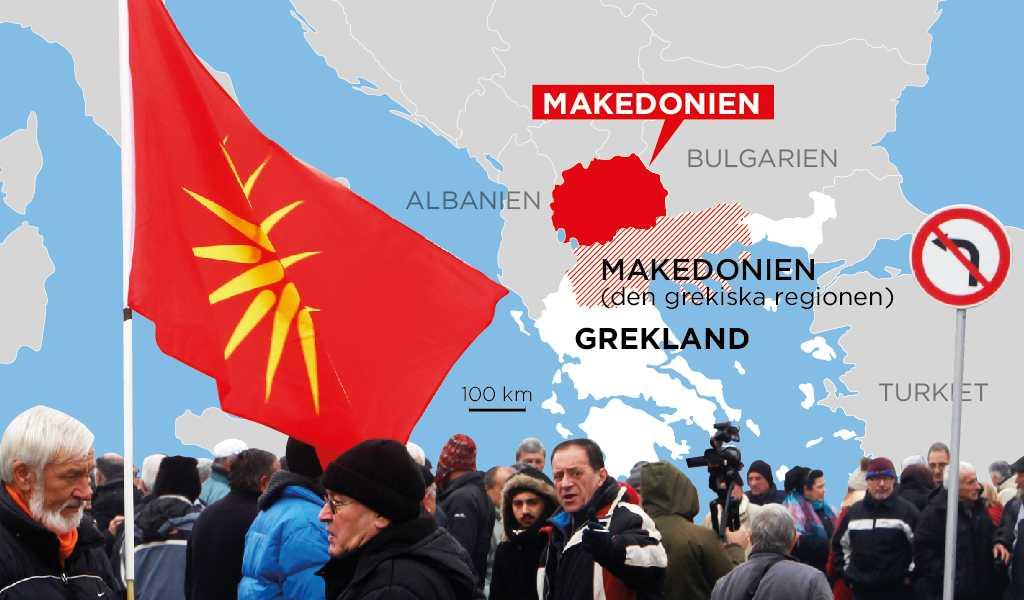 Karta över Grekland, den grekiska regionen Makedonien och det land som snart kan komma att byta namn från Makedonien till Nordmakedonien.