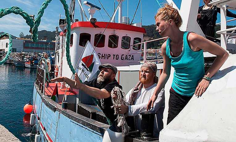 """Svenska Ship to Gaza-båten """"Marianne""""."""
