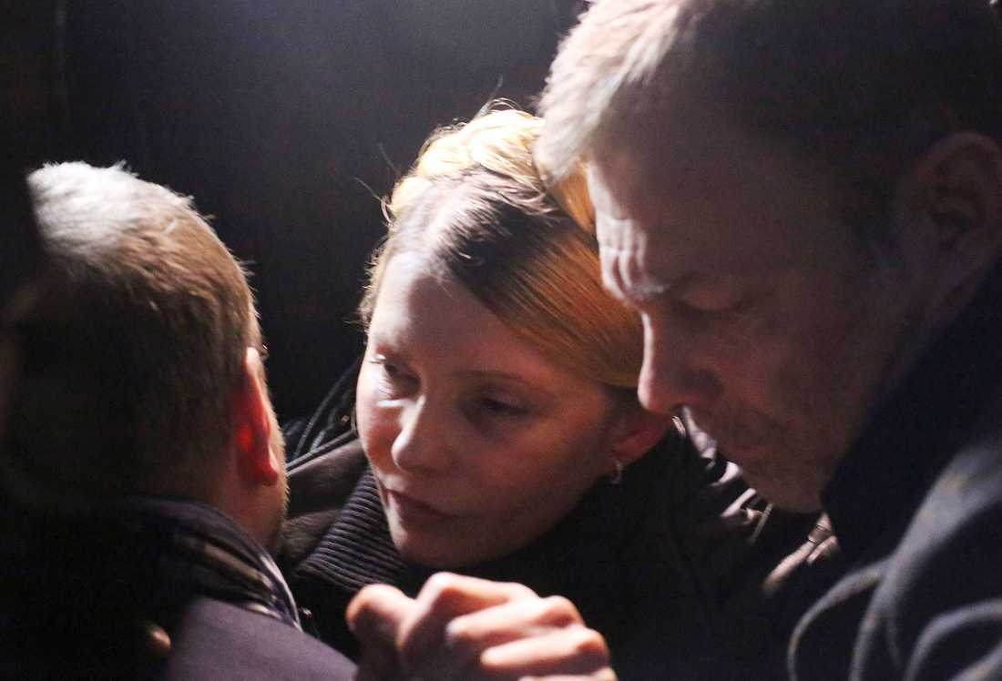 Julia Tymosjenko strax efter frisläppandet.