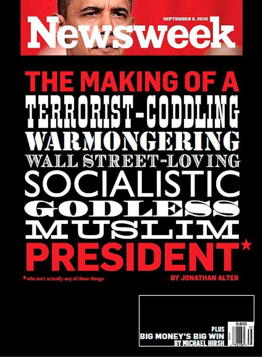 """6 september, 2010 Fotnoten på omslaget med alla påståenden som nyhetskanalen Fox har gjort om president Obama som inte går att läsa på bilden lyder: """"Som egentligen inte är något av dessa saker""""."""